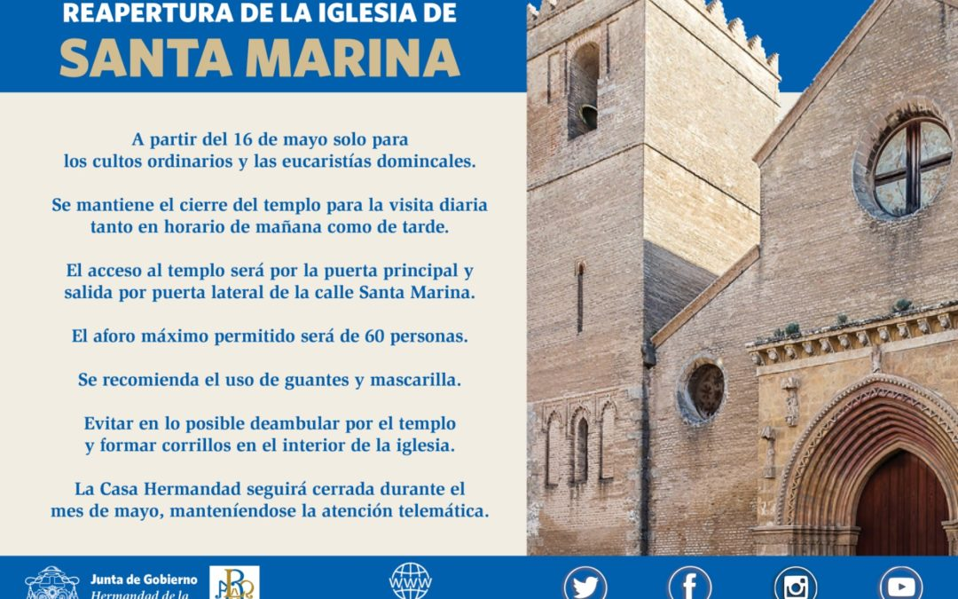 La iglesia de Santa Marina reabrirá al culto el 16 de mayo